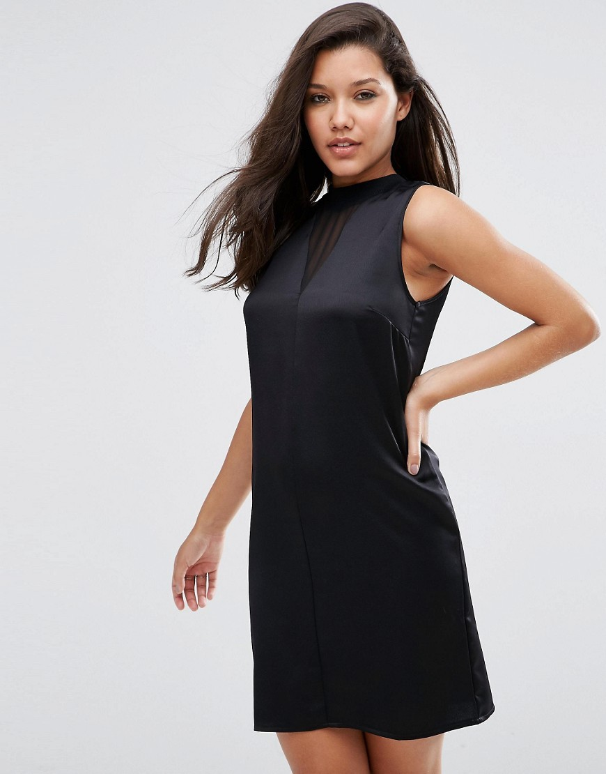 Sleeveless Column Dress In Satin With Sheer Insert Black - style: shift; length: mini; pattern: plain; sleeve style: sleeveless; neckline: high neck; predominant colour: black; occasions: evening; fit: soft a-line; fibres: polyester/polyamide - 100%; sleeve length: sleeveless; texture group: silky - light; pattern type: fabric; season: s/s 2016; wardrobe: event