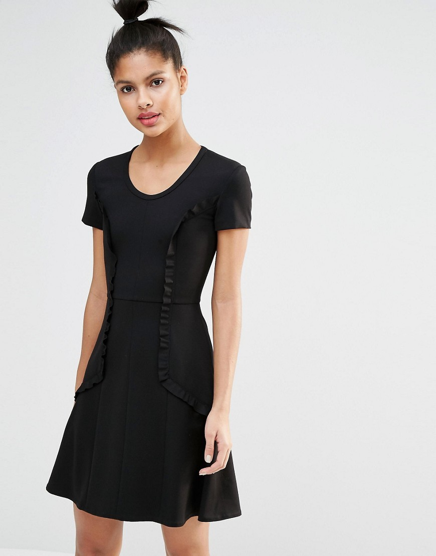 Fit And Flare Dress With Frill Black - length: mini; neckline: round neck; sleeve style: capped; pattern: plain; waist detail: fitted waist; predominant colour: black; occasions: evening; fit: fitted at waist & bust; style: fit & flare; fibres: polyester/polyamide - stretch; hip detail: soft pleats at hip/draping at hip/flared at hip; sleeve length: short sleeve; bust detail: tiers/frills/bulky drapes/pleats; pattern type: fabric; texture group: jersey - stretchy/drapey; season: s/s 2016; wardrobe: event