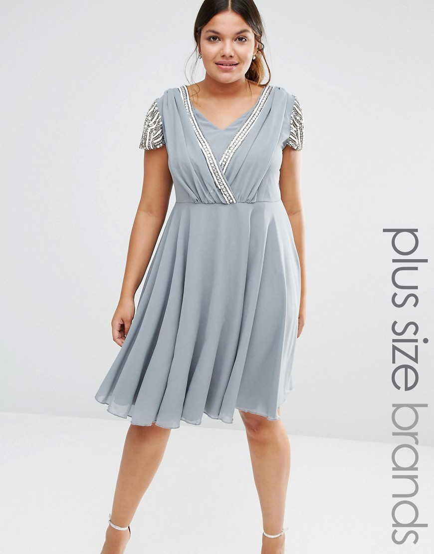 Short Sleeve Midi Dress With Embellished Sleeves And Wrap Front Detail Grey - style: faux wrap/wrap; neckline: v-neck; pattern: plain; predominant colour: pale blue; occasions: evening; length: on the knee; fit: body skimming; fibres: polyester/polyamide - 100%; sleeve length: short sleeve; sleeve style: standard; texture group: sheer fabrics/chiffon/organza etc.; pattern type: fabric; season: s/s 2016; wardrobe: event