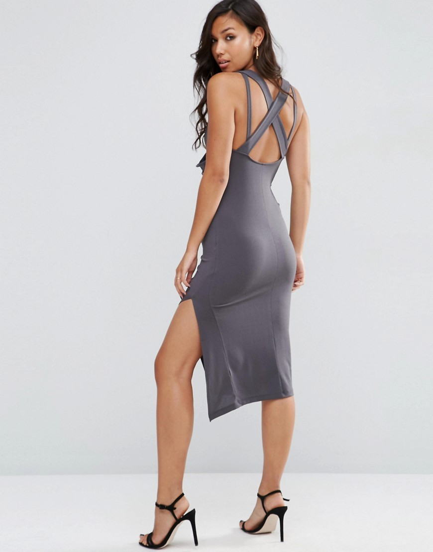 Drape Cowl Midi Bodycon With Cross Back Dark Grey - neckline: v-neck; fit: tight; pattern: plain; sleeve style: sleeveless; style: bodycon; hip detail: draws attention to hips; predominant colour: charcoal; occasions: evening; length: on the knee; fibres: polyester/polyamide - stretch; back detail: crossover; sleeve length: sleeveless; texture group: jersey - clingy; pattern type: fabric; season: s/s 2016; wardrobe: event