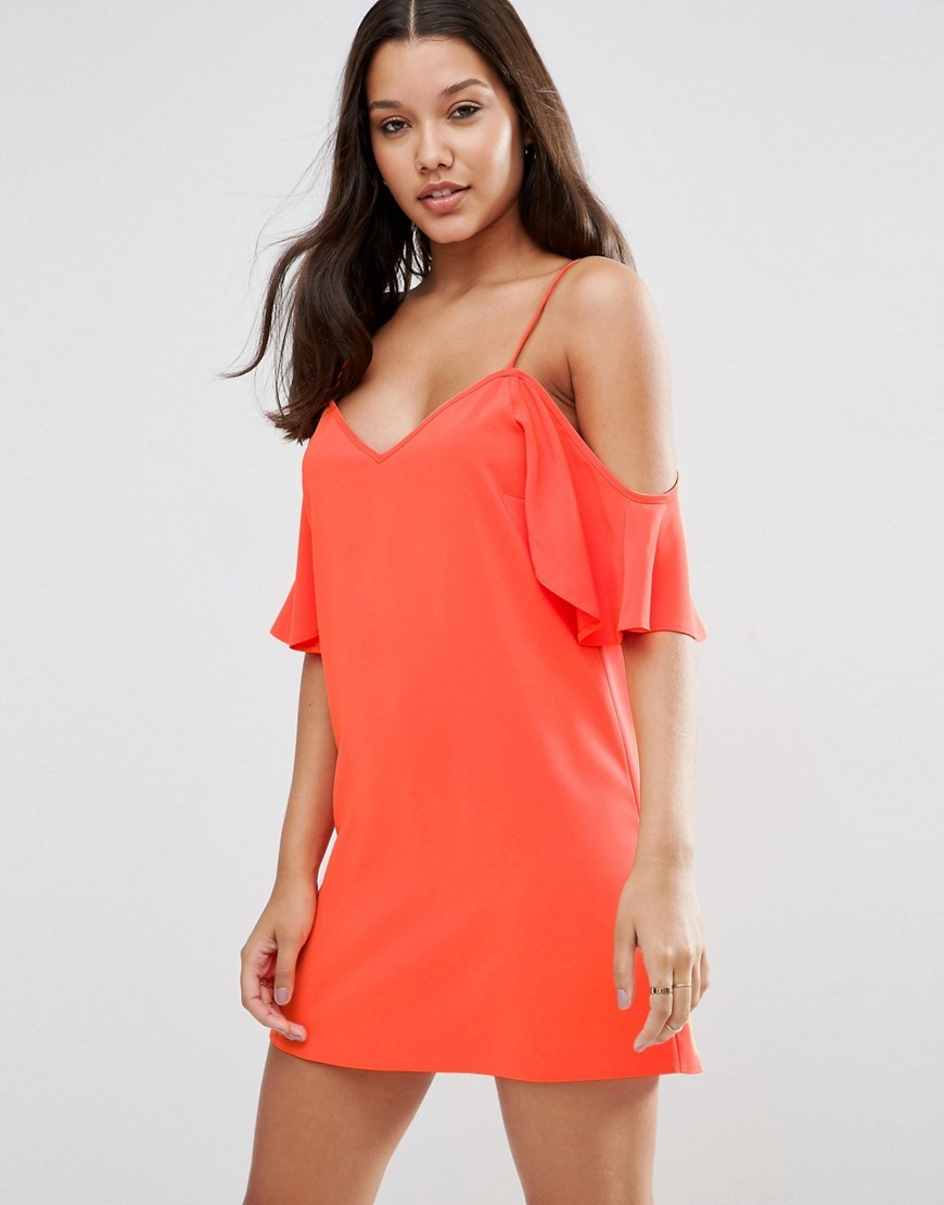 Cold Shoulder Slip Dress Orange - length: mid thigh; neckline: off the shoulder; sleeve style: spaghetti straps; pattern: plain; predominant colour: bright orange; occasions: evening; fit: body skimming; style: slip dress; fibres: polyester/polyamide - stretch; sleeve length: sleeveless; pattern type: fabric; texture group: jersey - stretchy/drapey; season: s/s 2016