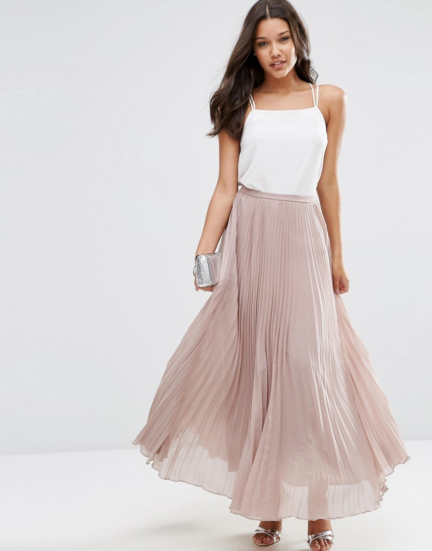Pleated Maxi Skirt Taupe - pattern: plain; length: ankle length; fit: loose/voluminous; waist: mid/regular rise; predominant colour: blush; occasions: evening; style: maxi skirt; fibres: polyester/polyamide - 100%; texture group: sheer fabrics/chiffon/organza etc.; pattern type: fabric; season: s/s 2016; wardrobe: event