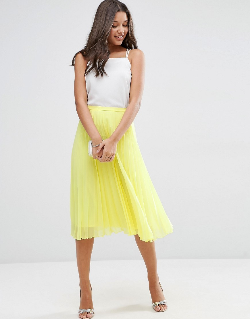 Pleated Midi Skirt Yellow - length: below the knee; pattern: plain; fit: body skimming; style: pleated; waist: mid/regular rise; predominant colour: primrose yellow; occasions: casual; fibres: polyester/polyamide - 100%; texture group: sheer fabrics/chiffon/organza etc.; pattern type: fabric; season: s/s 2016; wardrobe: highlight