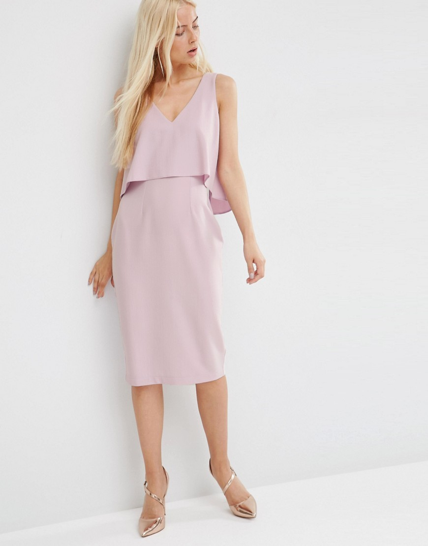 Double Layer Pencil Dress Lilac - style: shift; neckline: v-neck; pattern: plain; sleeve style: sleeveless; bust detail: subtle bust detail; predominant colour: lilac; occasions: evening; length: on the knee; fit: body skimming; fibres: polyester/polyamide - stretch; sleeve length: sleeveless; pattern type: fabric; texture group: other - light to midweight; season: s/s 2016; wardrobe: event