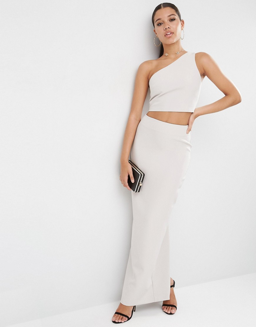 Premium Clean Maxi Skirt Co Ord Silver - pattern: plain; length: ankle length; fit: body skimming; waist: mid/regular rise; predominant colour: stone; occasions: evening; style: maxi skirt; fibres: polyester/polyamide - stretch; texture group: crepes; pattern type: fabric; season: s/s 2016; wardrobe: event