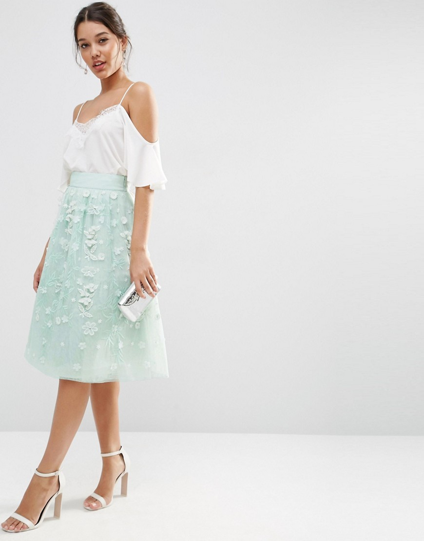 Midi Embellished Prom Skirt Ice Mint - length: below the knee; pattern: plain; style: full/prom skirt; fit: loose/voluminous; waist: mid/regular rise; secondary colour: white; predominant colour: pistachio; occasions: evening, occasion; fibres: polyester/polyamide - 100%; texture group: sheer fabrics/chiffon/organza etc.; pattern type: fabric; embellishment: applique; season: s/s 2016; wardrobe: event; embellishment location: all over