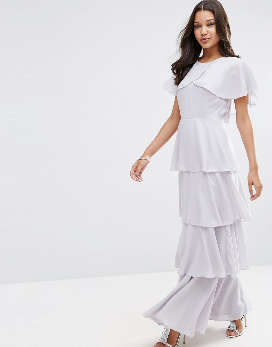 Cape Layered Ruffle Front Maxi Dress Soft Grey - sleeve style: dolman/batwing; pattern: plain; style: maxi dress; predominant colour: light grey; occasions: evening; length: floor length; fit: body skimming; fibres: polyester/polyamide - 100%; neckline: crew; hip detail: adds bulk at the hips; sleeve length: short sleeve; pattern type: fabric; texture group: other - light to midweight; season: s/s 2016; wardrobe: event