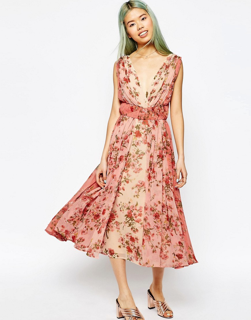 Ombre Pretty Floral Midi Prom Dress Multi - length: calf length; neckline: low v-neck; sleeve style: sleeveless; style: prom dress; predominant colour: pink; occasions: evening; fit: fitted at waist & bust; fibres: polyester/polyamide - 100%; sleeve length: sleeveless; pattern type: fabric; pattern size: big & busy; pattern: florals; texture group: other - light to midweight; season: s/s 2016; wardrobe: event