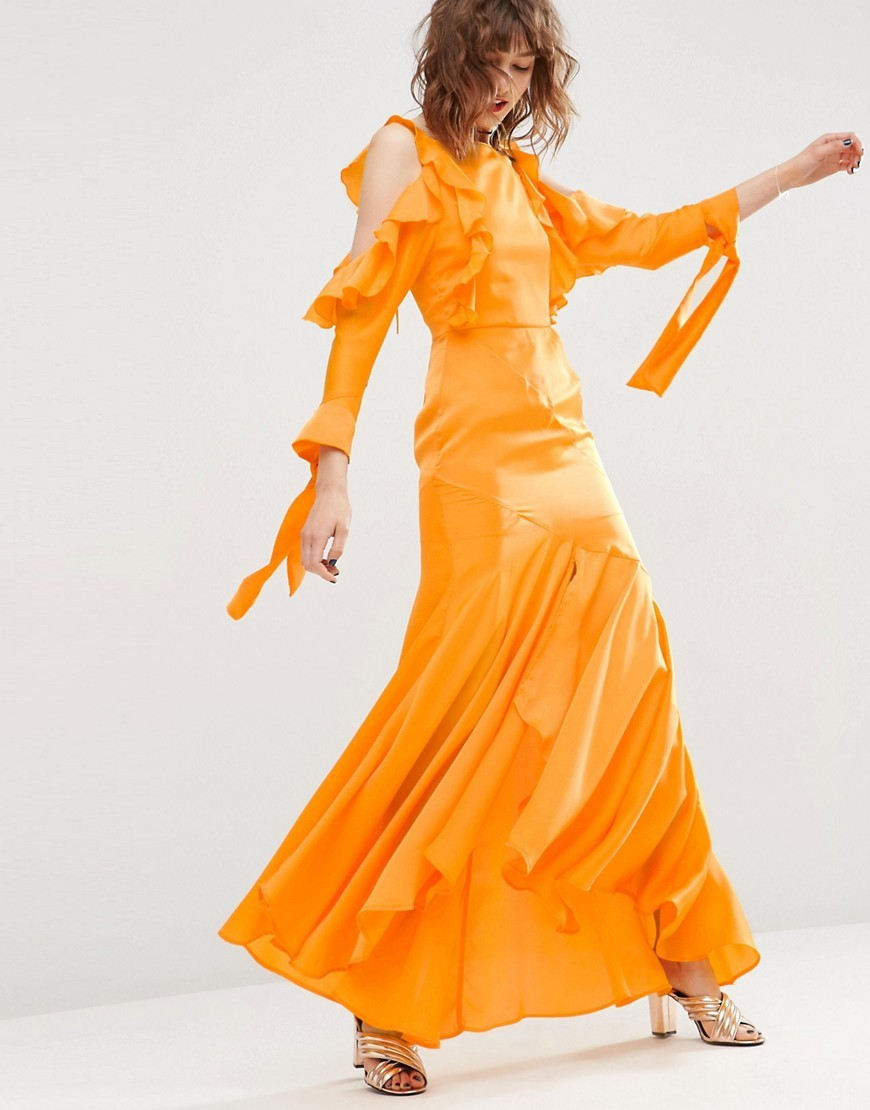 Cold Shoulder Long Sleeve Ruffle Maxi Dress Orange - pattern: plain; style: maxi dress; predominant colour: bright orange; occasions: evening; length: floor length; fit: body skimming; fibres: polyester/polyamide - 100%; neckline: crew; shoulder detail: cut out shoulder; sleeve length: long sleeve; sleeve style: standard; pattern type: fabric; texture group: other - light to midweight; season: s/s 2016; wardrobe: event
