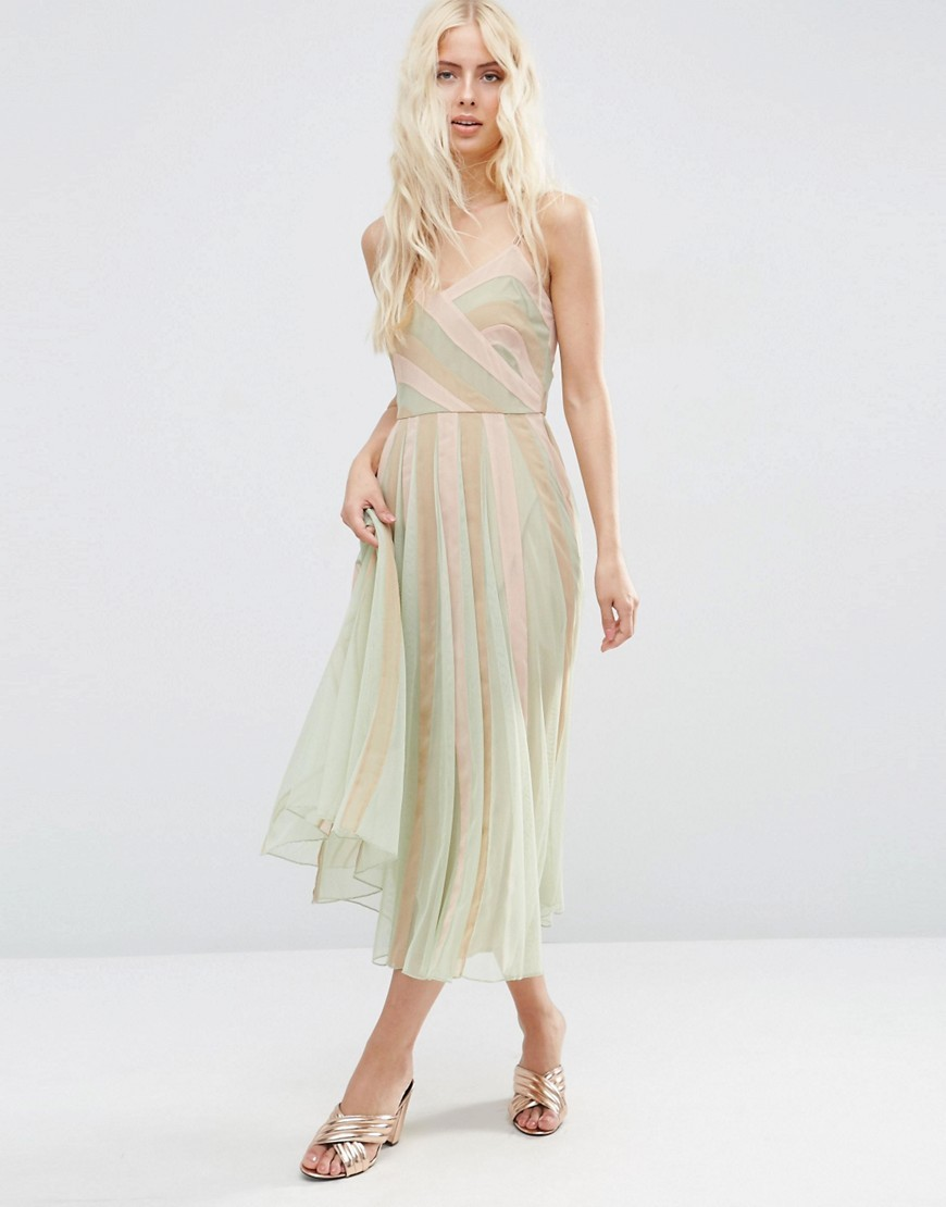 Pastel Fit And Flare Cami Midi Dress Multi - length: calf length; neckline: low v-neck; sleeve style: strapless; pattern: striped; secondary colour: pistachio; predominant colour: nude; occasions: evening; fit: fitted at waist & bust; style: fit & flare; fibres: polyester/polyamide - 100%; sleeve length: sleeveless; texture group: sheer fabrics/chiffon/organza etc.; pattern type: fabric; multicoloured: multicoloured; season: s/s 2016; wardrobe: event