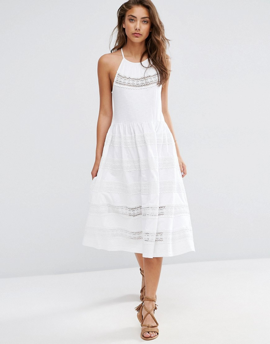 Cotton Midi Sundress With Lace Inserts White - length: below the knee; sleeve style: sleeveless; style: sundress; predominant colour: white; occasions: casual, holiday; fit: fitted at waist & bust; fibres: cotton - 100%; hip detail: soft pleats at hip/draping at hip/flared at hip; sleeve length: sleeveless; texture group: cotton feel fabrics; pattern type: fabric; pattern: patterned/print; embellishment: lace; season: s/s 2016; neckline: high halter neck; wardrobe: highlight