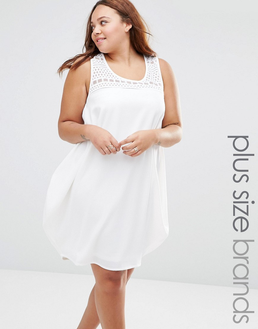 Ton Drapey Dress Bright White - length: mid thigh; sleeve style: standard vest straps/shoulder straps; pattern: plain; style: sundress; shoulder detail: contrast pattern/fabric at shoulder; predominant colour: white; occasions: casual, holiday; fit: straight cut; neckline: scoop; fibres: polyester/polyamide - 100%; sleeve length: sleeveless; texture group: sheer fabrics/chiffon/organza etc.; pattern type: fabric; embellishment: lace; season: s/s 2016