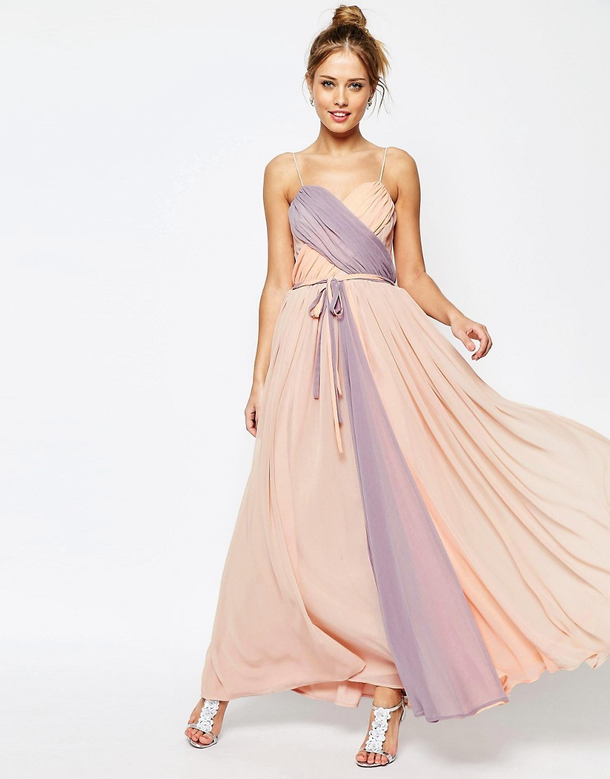Salon Cross Over Colour Block Cami Maxi Dress Multi - sleeve style: spaghetti straps; style: maxi dress; length: ankle length; neckline: sweetheart; waist detail: belted waist/tie at waist/drawstring; secondary colour: lilac; predominant colour: nude; occasions: evening; fit: body skimming; fibres: viscose/rayon - 100%; sleeve length: sleeveless; texture group: sheer fabrics/chiffon/organza etc.; pattern type: fabric; pattern: colourblock; multicoloured: multicoloured; season: s/s 2016; wardrobe: event