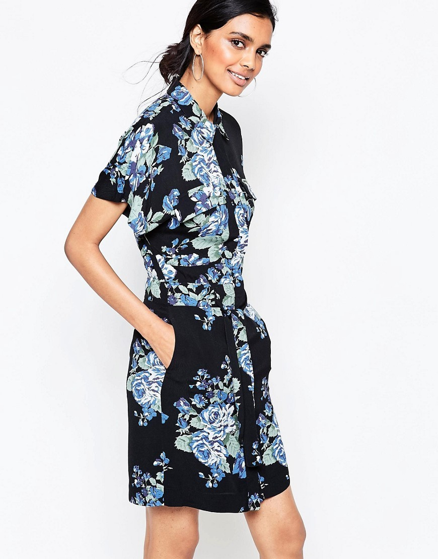 Blue Flower Print Shirt Dress Blue Flower - style: shirt; length: mid thigh; neckline: shirt collar/peter pan/zip with opening; fit: tailored/fitted; secondary colour: denim; predominant colour: black; occasions: casual, creative work; fibres: polyester/polyamide - 100%; sleeve length: short sleeve; sleeve style: standard; pattern type: fabric; pattern: patterned/print; texture group: woven light midweight; multicoloured: multicoloured; season: s/s 2016; wardrobe: highlight