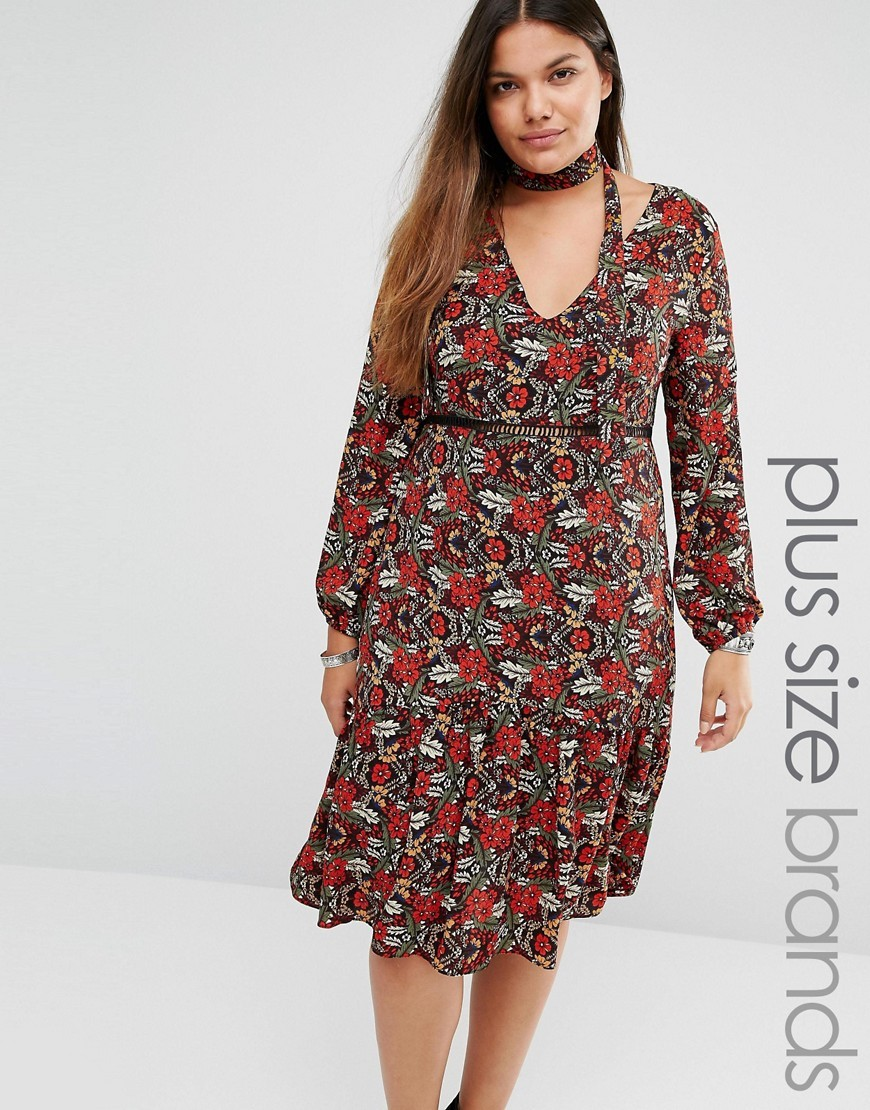Midi Dress In All Over Floral Print And Neck Tie Multi - style: empire line; length: below the knee; neckline: low v-neck; fit: empire; sleeve style: balloon; predominant colour: terracotta; secondary colour: stone; occasions: casual, creative work; fibres: polyester/polyamide - stretch; hip detail: soft pleats at hip/draping at hip/flared at hip; sleeve length: long sleeve; pattern type: fabric; pattern size: standard; pattern: florals; texture group: jersey - stretchy/drapey; multicoloured: multicoloured; season: s/s 2016; wardrobe: highlight