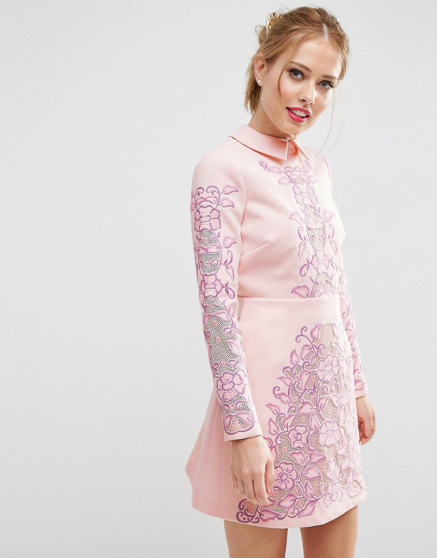 Salon Cutwork Scallop Back Aline Mini Dress Pink - style: shift; length: mini; secondary colour: pink; predominant colour: blush; occasions: evening, occasion; fit: soft a-line; fibres: polyester/polyamide - 100%; neckline: no opening/shirt collar/peter pan; sleeve length: long sleeve; sleeve style: standard; texture group: crepes; pattern type: fabric; pattern size: standard; pattern: florals; embellishment: embroidered; season: s/s 2016