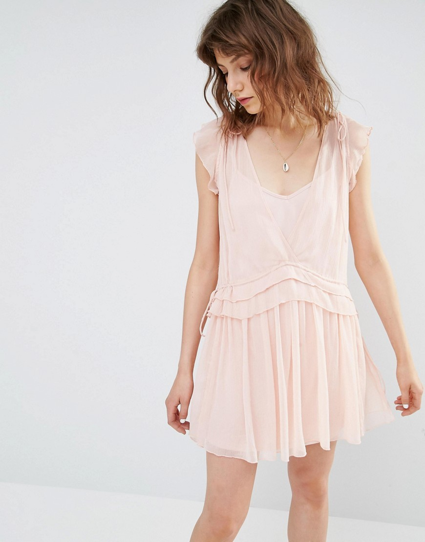 Pretty Layered Mini Dress Pink - length: mid thigh; neckline: v-neck; sleeve style: capped; pattern: plain; style: drop waist; predominant colour: blush; occasions: casual; fit: body skimming; fibres: polyester/polyamide - 100%; sleeve length: short sleeve; texture group: sheer fabrics/chiffon/organza etc.; pattern type: fabric; season: s/s 2016; wardrobe: basic