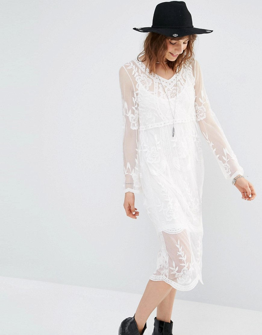 Embroidered Midi Dress Cream - style: shift; length: below the knee; neckline: v-neck; bust detail: sheer at bust; predominant colour: ivory/cream; occasions: evening; fit: body skimming; fibres: polyester/polyamide - 100%; hip detail: adds bulk at the hips; sleeve length: long sleeve; sleeve style: standard; texture group: lace; pattern type: fabric; pattern size: standard; pattern: patterned/print; embellishment: embroidered; season: s/s 2016; wardrobe: event; embellishment location: pattern