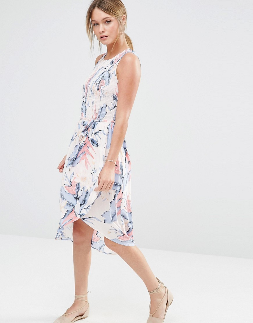 Tropical Print Smocked Top Dress Multi Pink - sleeve style: sleeveless; waist detail: belted waist/tie at waist/drawstring; predominant colour: ivory/cream; secondary colour: pale blue; occasions: casual; length: on the knee; fit: fitted at waist & bust; style: fit & flare; fibres: viscose/rayon - 100%; neckline: crew; hip detail: subtle/flattering hip detail; sleeve length: sleeveless; pattern type: fabric; pattern size: standard; pattern: florals; texture group: woven light midweight; multicoloured: multicoloured; season: s/s 2016; wardrobe: highlight