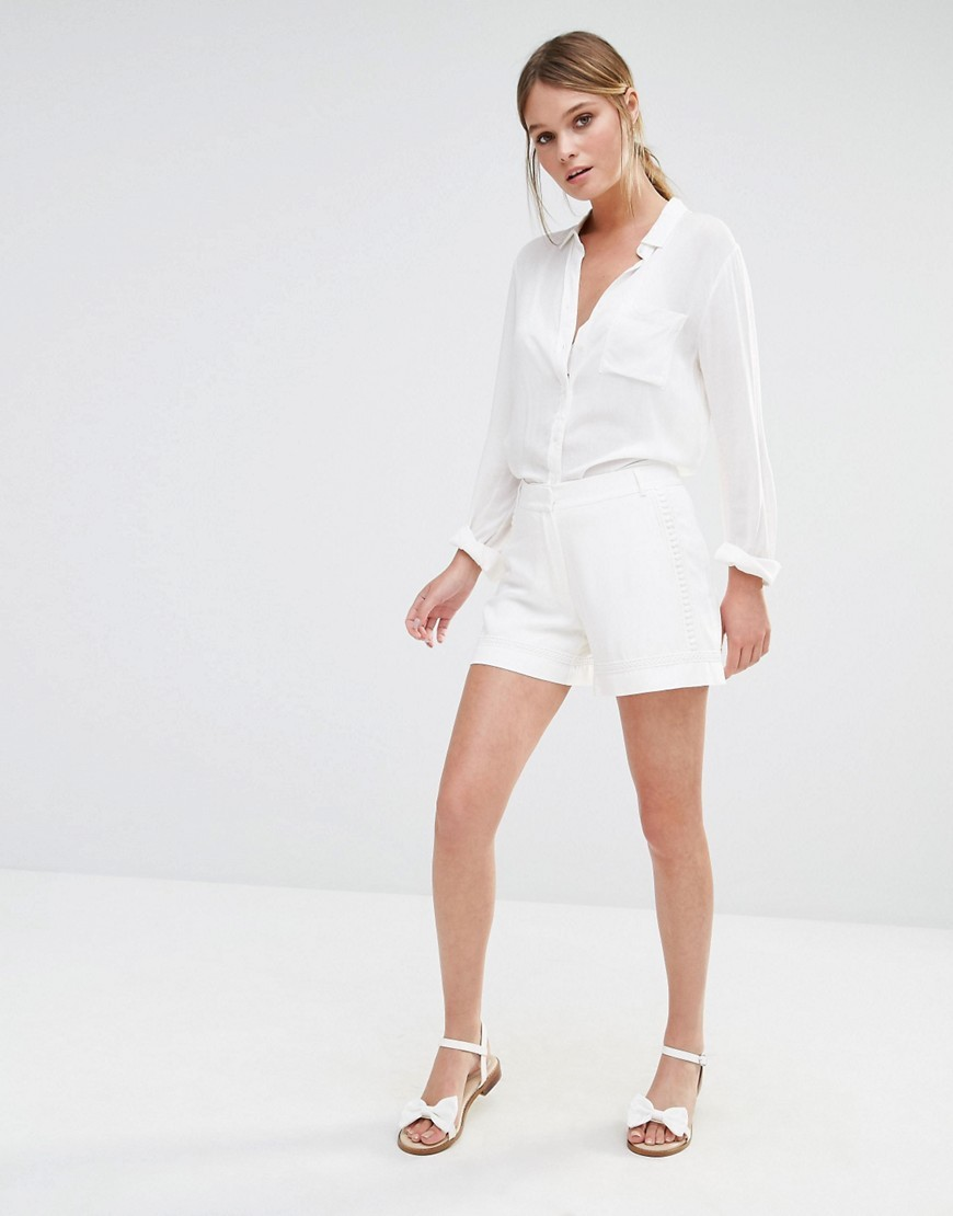 Lace Trim Short White - pattern: plain; waist: high rise; hip detail: draws attention to hips; predominant colour: white; occasions: casual, holiday; fibres: cotton - stretch; texture group: cotton feel fabrics; pattern type: fabric; season: s/s 2016; style: shorts; length: short shorts; fit: standard; wardrobe: holiday