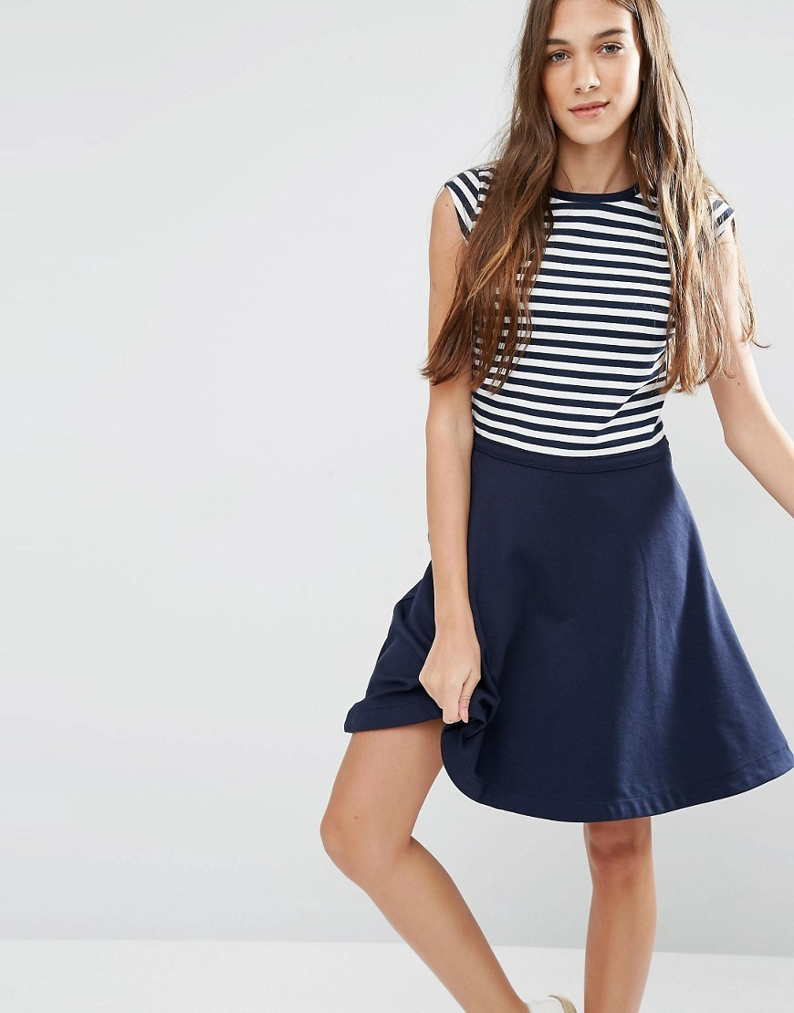 Striped Fit And Flare Dress Navy / Classic White - sleeve style: capped; pattern: horizontal stripes; secondary colour: white; predominant colour: navy; occasions: casual; length: just above the knee; fit: fitted at waist & bust; style: fit & flare; fibres: viscose/rayon - stretch; neckline: crew; sleeve length: short sleeve; pattern type: fabric; texture group: jersey - stretchy/drapey; multicoloured: multicoloured; season: s/s 2016