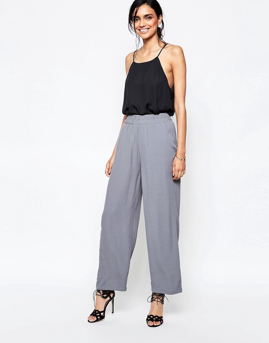 Wide Leg Trousers In Grey Smoked Pearl - length: standard; pattern: plain; waist detail: elasticated waist; waist: mid/regular rise; predominant colour: light grey; occasions: evening; fibres: viscose/rayon - 100%; fit: wide leg; pattern type: fabric; texture group: woven light midweight; style: standard; season: s/s 2016; wardrobe: event