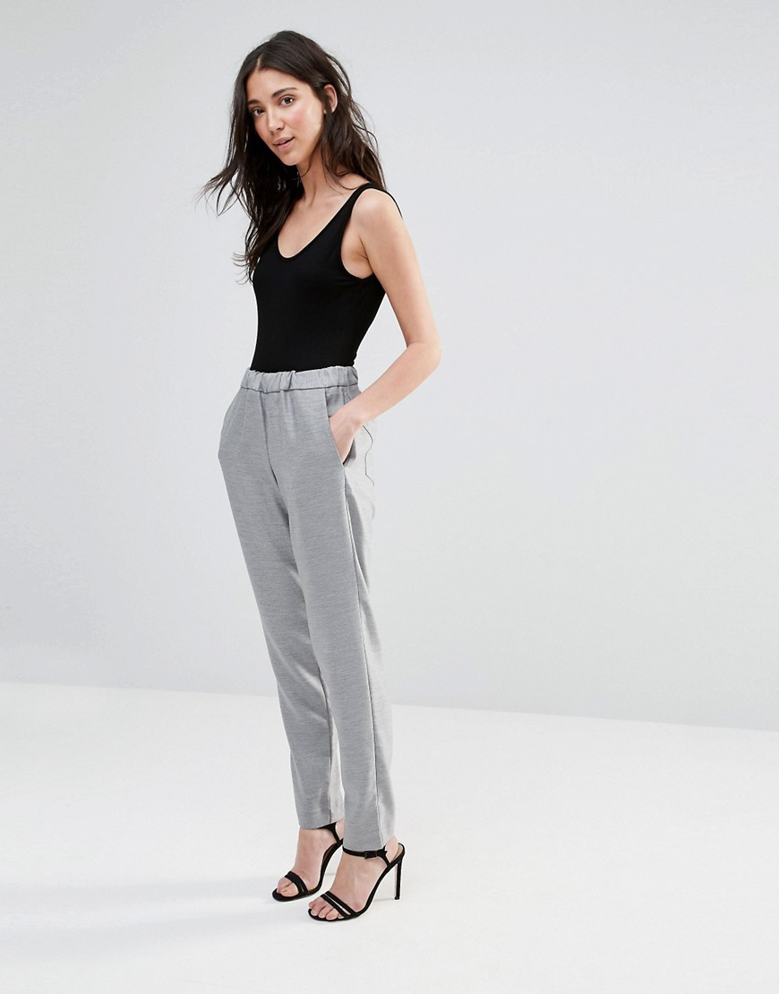 Ivy Suiting Trousers Light Grey Mel - pattern: plain; waist: high rise; predominant colour: mid grey; length: ankle length; fibres: polyester/polyamide - 100%; waist detail: feature waist detail; fit: slim leg; pattern type: fabric; texture group: woven light midweight; style: standard; occasions: creative work; season: s/s 2016; wardrobe: basic