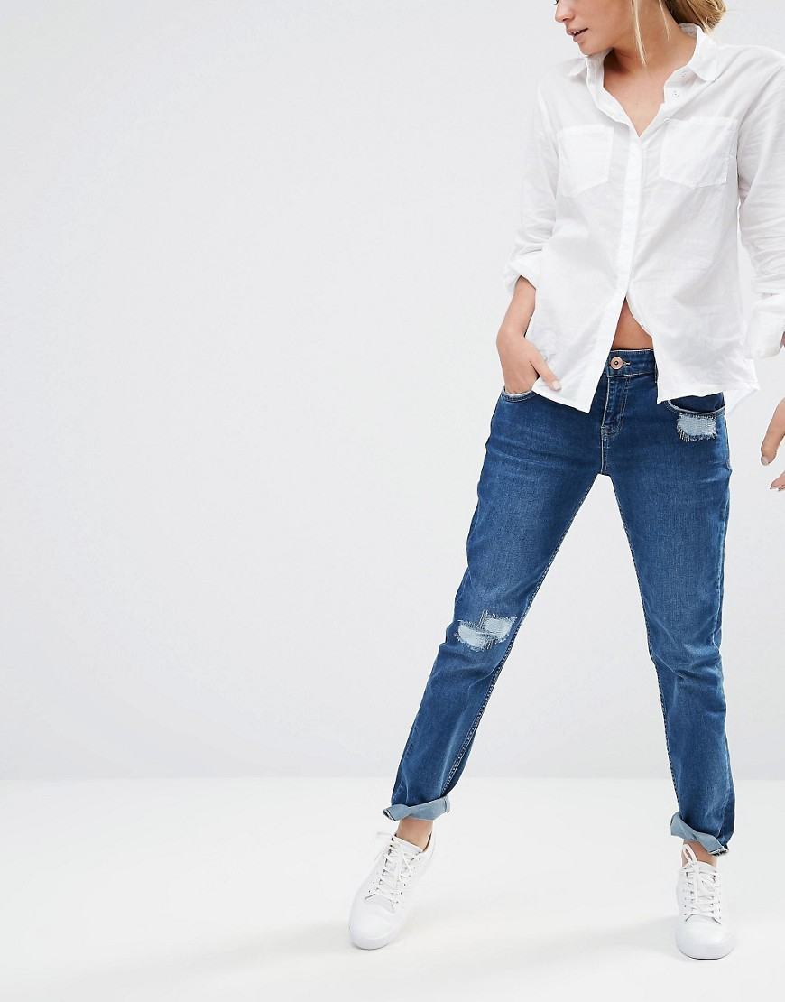 Distressed Boyfriend Jeans Denim - style: boyfriend; length: standard; pattern: plain; pocket detail: traditional 5 pocket; waist: mid/regular rise; predominant colour: navy; occasions: casual; fibres: cotton - stretch; texture group: denim; pattern type: fabric; jeans detail: rips; season: s/s 2016; wardrobe: basic