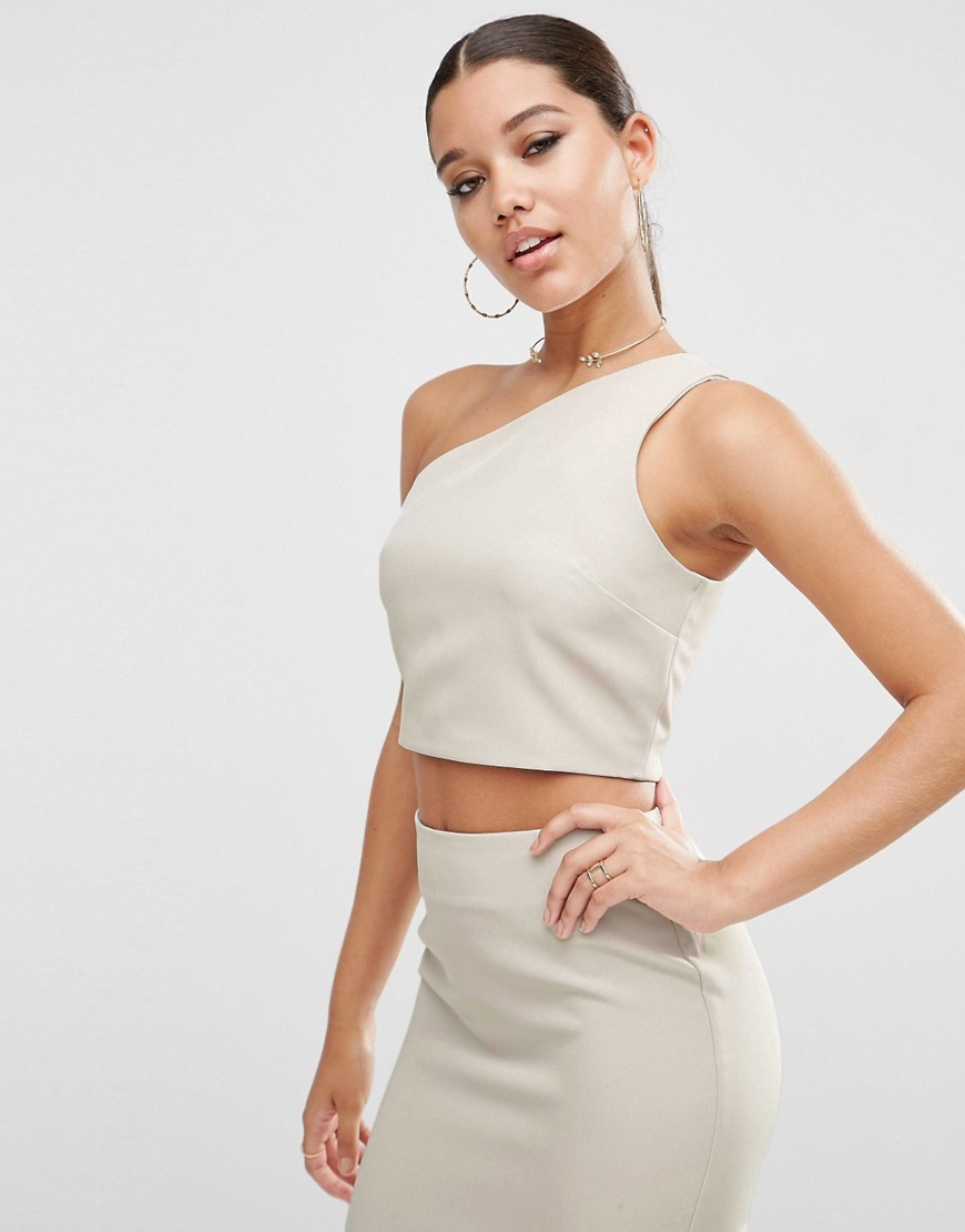 Premium Clean One Shouldered Top Co Ord Silver - pattern: plain; sleeve style: asymmetric sleeve; length: cropped; neckline: asymmetric; predominant colour: light grey; occasions: evening; style: top; fibres: polyester/polyamide - 100%; fit: tight; sleeve length: sleeveless; texture group: crepes; pattern type: fabric; season: s/s 2016