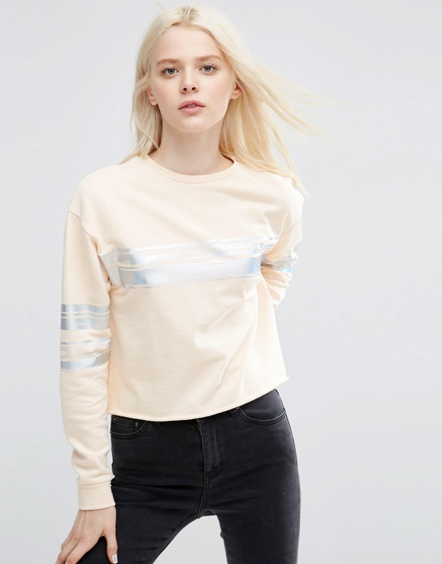 Sweatshirt With Metallic Block Stripe In Boxy Fit Nude - pattern: horizontal stripes; length: cropped; style: sweat top; predominant colour: nude; secondary colour: silver; occasions: casual, activity; fibres: cotton - 100%; fit: straight cut; neckline: crew; sleeve length: long sleeve; sleeve style: standard; pattern type: fabric; pattern size: standard; texture group: jersey - stretchy/drapey; season: s/s 2016
