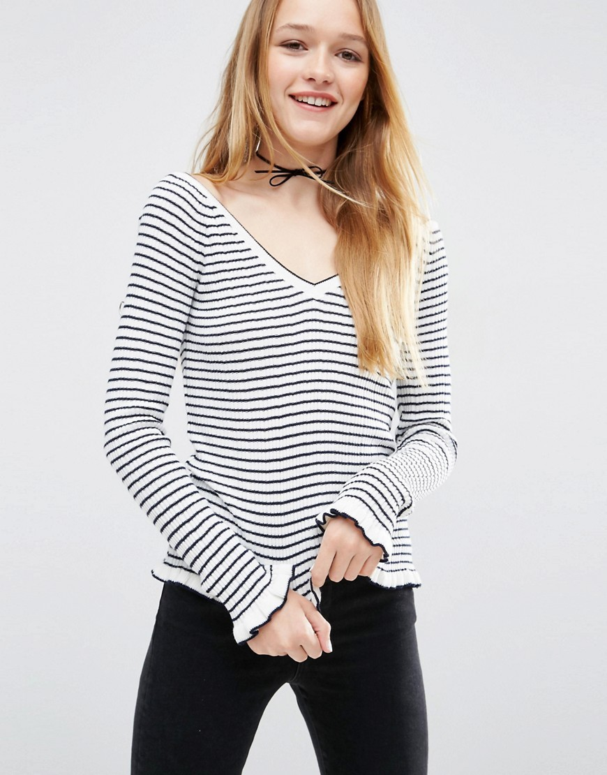 Jumper With Ruffle Hem In Stripe With Off Shoulder V Neck Multi - neckline: v-neck; pattern: horizontal stripes; style: standard; secondary colour: white; predominant colour: black; occasions: casual, creative work; length: standard; fibres: acrylic - 100%; fit: standard fit; sleeve length: long sleeve; sleeve style: standard; texture group: knits/crochet; pattern type: knitted - fine stitch; pattern size: big & busy (top); season: s/s 2016; wardrobe: highlight