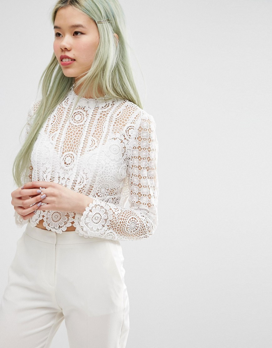 Premium High Neck Top In Lace White - neckline: high neck; length: cropped; predominant colour: ivory/cream; occasions: evening; style: top; fibres: polyester/polyamide - 100%; fit: body skimming; sleeve length: long sleeve; sleeve style: standard; texture group: lace; pattern type: fabric; pattern size: standard; pattern: patterned/print; season: s/s 2016