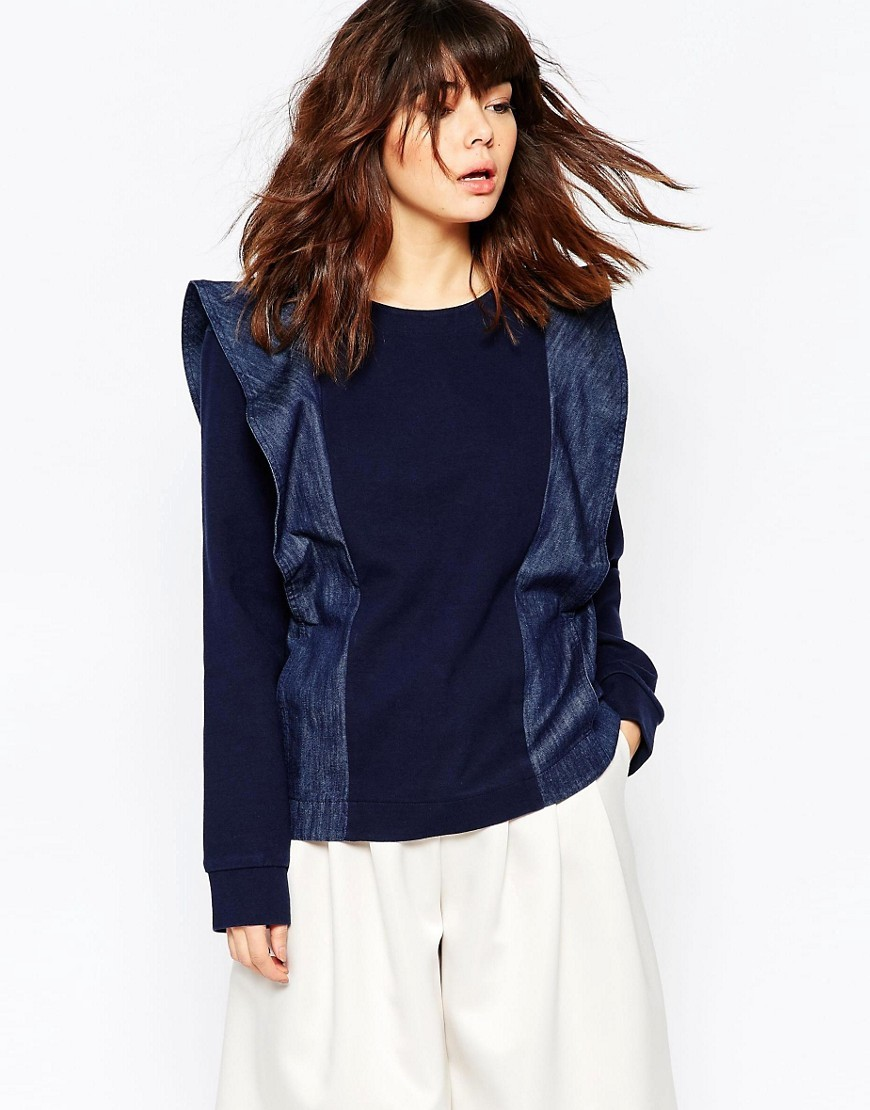 Panelled Sweatshirt Blue - pattern: plain; style: sweat top; shoulder detail: tiers/frills/ruffles; predominant colour: navy; occasions: casual, creative work; length: standard; fibres: cotton - 100%; fit: loose; neckline: crew; sleeve length: long sleeve; sleeve style: standard; pattern type: fabric; texture group: jersey - stretchy/drapey; season: s/s 2016; wardrobe: highlight