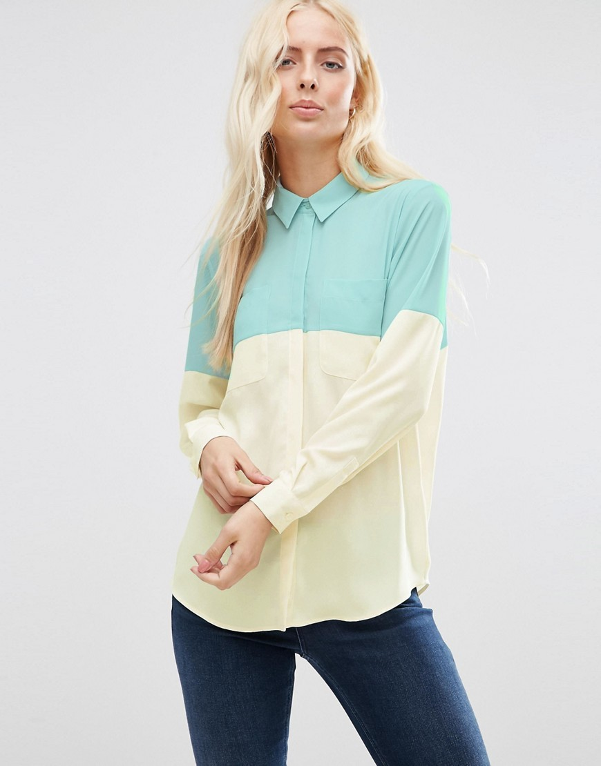 Colour Block Blouse Duck Egg / Cream - neckline: shirt collar/peter pan/zip with opening; style: shirt; predominant colour: primrose yellow; secondary colour: mint green; occasions: casual, creative work; length: standard; fibres: polyester/polyamide - 100%; fit: straight cut; sleeve length: long sleeve; sleeve style: standard; texture group: crepes; pattern type: fabric; pattern size: standard; pattern: colourblock; season: s/s 2016; wardrobe: highlight