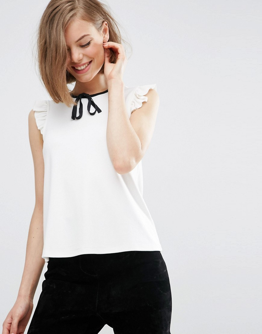 Sleeveless Top With Contrast Tie In Ponte Cream - pattern: plain; sleeve style: sleeveless; predominant colour: white; secondary colour: black; occasions: work; length: standard; style: top; fibres: viscose/rayon - stretch; fit: body skimming; neckline: crew; sleeve length: sleeveless; texture group: sheer fabrics/chiffon/organza etc.; pattern type: fabric; season: s/s 2016; wardrobe: basic