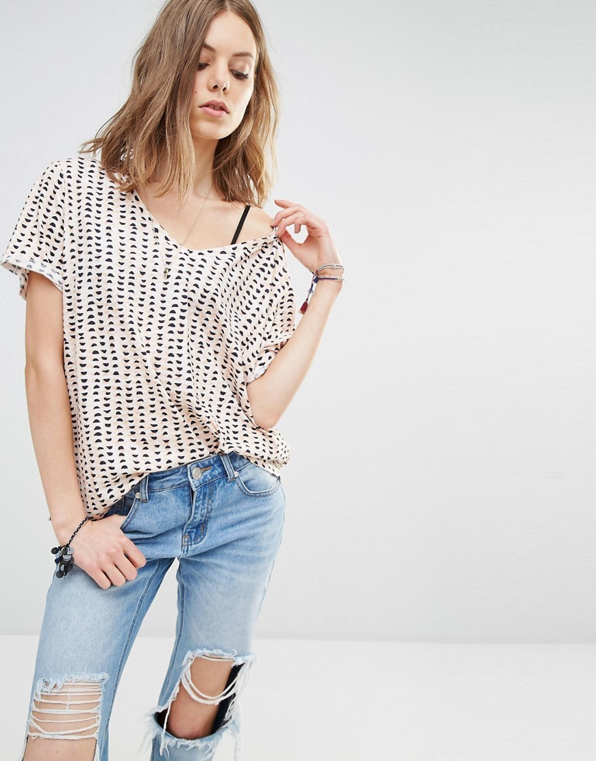 All Over Print T Shirt B Multi - neckline: off the shoulder; style: t-shirt; predominant colour: white; secondary colour: black; occasions: casual; length: standard; fibres: cotton - mix; fit: loose; sleeve length: short sleeve; sleeve style: standard; pattern type: fabric; pattern: patterned/print; texture group: jersey - stretchy/drapey; multicoloured: multicoloured; season: s/s 2016; wardrobe: highlight