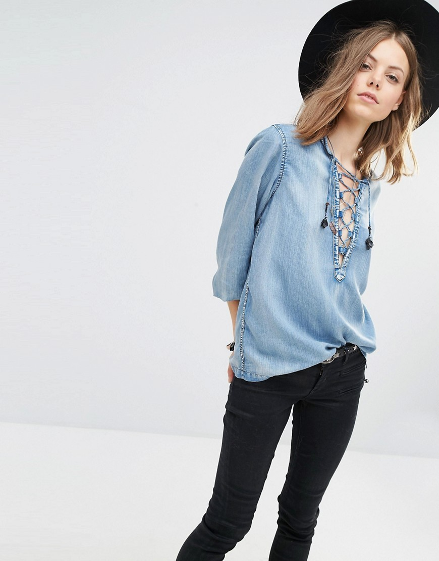 Denim Top With Lacing 51 Blue - neckline: low v-neck; pattern: plain; sleeve style: balloon; style: blouse; predominant colour: denim; occasions: casual; length: standard; fibres: cotton - 100%; fit: loose; sleeve length: 3/4 length; texture group: denim; pattern type: fabric; season: s/s 2016; wardrobe: highlight; embellishment location: bust