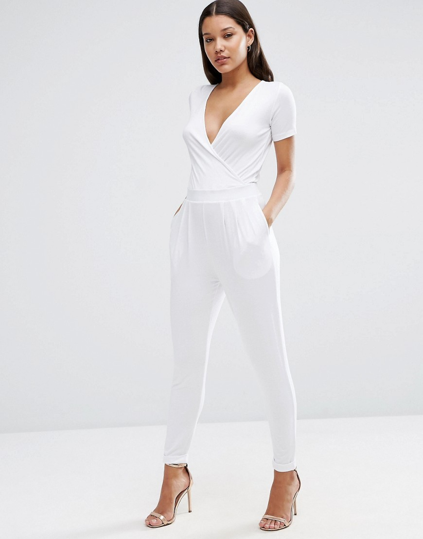Wrap Front Jersey Jumpsuit With Short Sleeve White - neckline: low v-neck; pattern: plain; predominant colour: white; occasions: evening; length: ankle length; fit: fitted at waist & bust; fibres: viscose/rayon - stretch; sleeve length: short sleeve; sleeve style: standard; texture group: jersey - clingy; style: jumpsuit; pattern type: fabric; season: s/s 2016; wardrobe: event