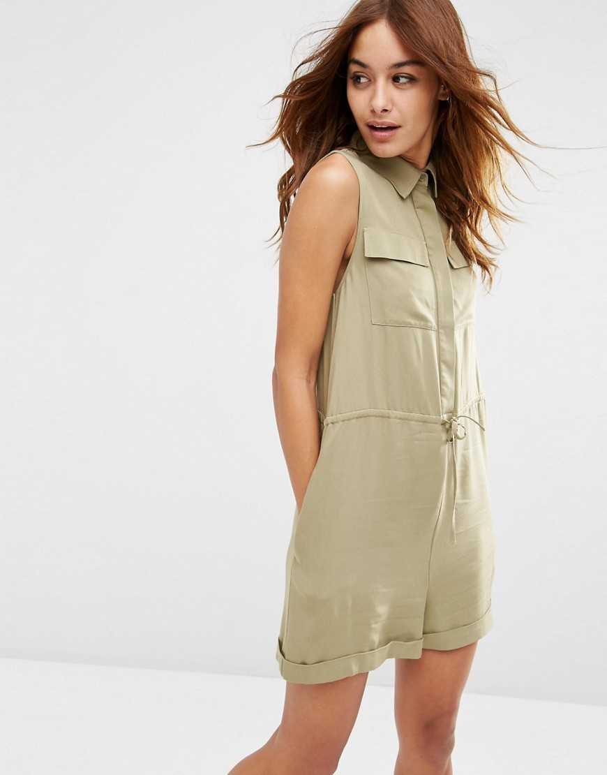 Utility Slouch Playsuit Khaki - neckline: shirt collar/peter pan/zip with opening; pattern: plain; sleeve style: sleeveless; waist detail: belted waist/tie at waist/drawstring; bust detail: subtle bust detail; length: mid thigh shorts; predominant colour: khaki; occasions: casual, creative work; fit: straight cut; fibres: viscose/rayon - 100%; sleeve length: sleeveless; style: playsuit; pattern type: fabric; texture group: woven light midweight; season: s/s 2016; wardrobe: highlight