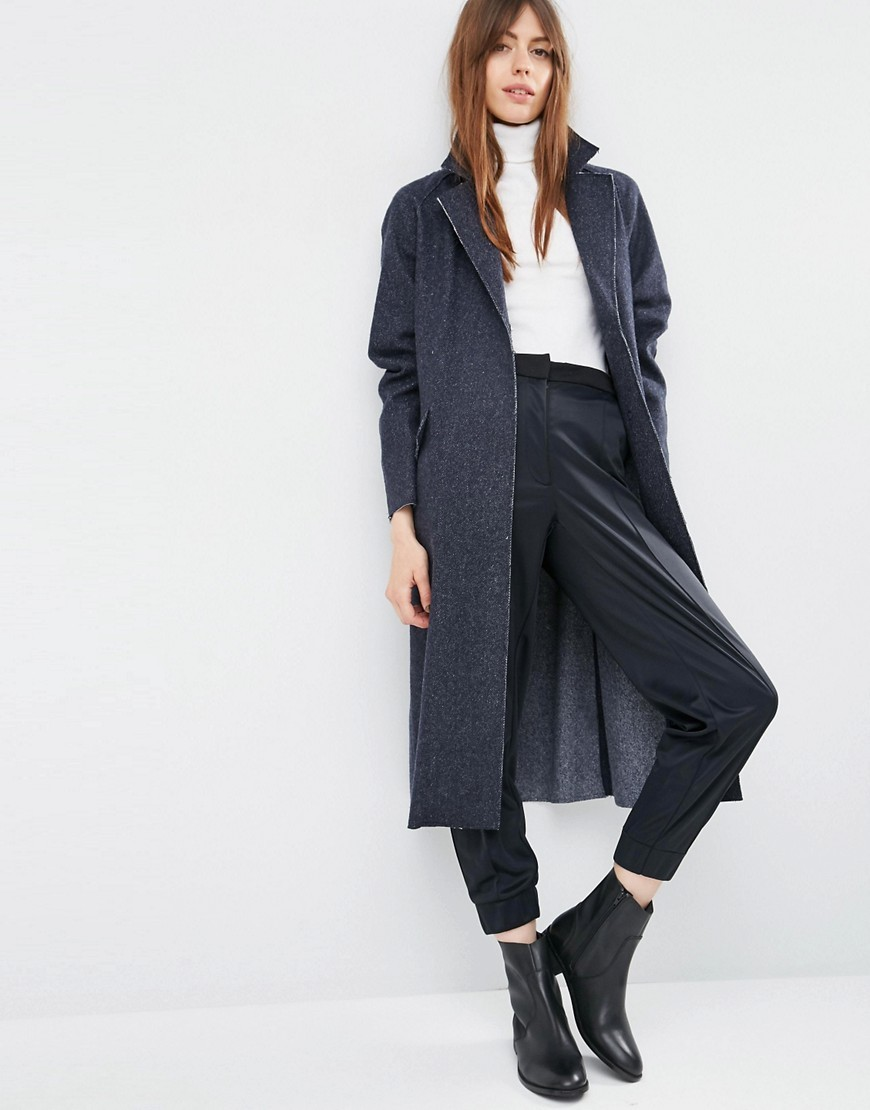 Oversized Coat With Raw Edges Blue - pattern: plain; style: single breasted; length: on the knee; collar: standard lapel/rever collar; predominant colour: charcoal; occasions: casual, creative work; fit: straight cut (boxy); fibres: wool - mix; sleeve length: long sleeve; sleeve style: standard; texture group: denim; collar break: low/open; pattern type: fabric; season: s/s 2016; wardrobe: basic