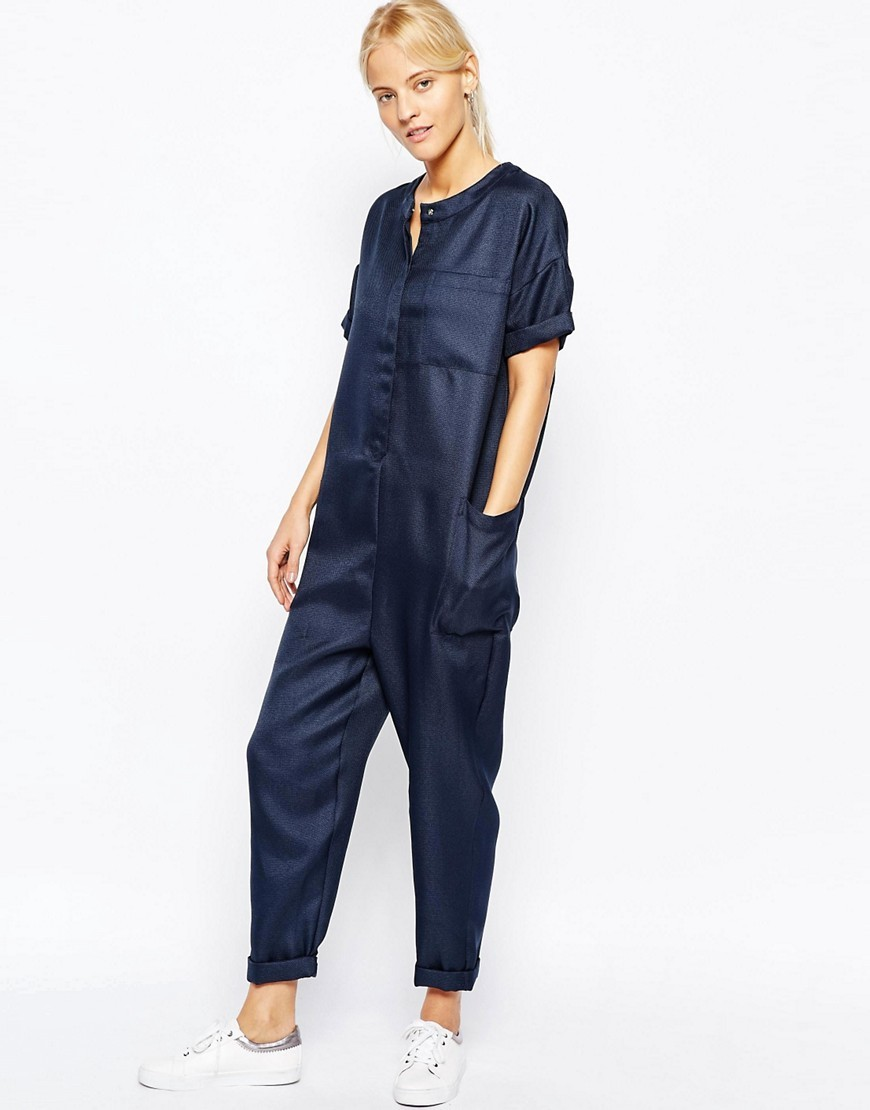 Minimal Jumpsuit In Texture With Short Sleeve Navy - neckline: round neck; pattern: plain; predominant colour: navy; occasions: casual, creative work; length: ankle length; fit: body skimming; fibres: polyester/polyamide - 100%; sleeve length: short sleeve; sleeve style: standard; style: jumpsuit; pattern type: fabric; texture group: other - light to midweight; season: s/s 2016; wardrobe: highlight