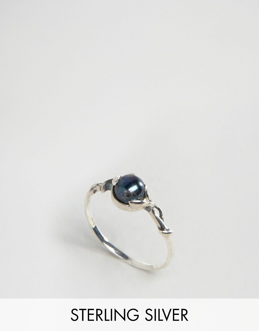 Sterling Silver Black Pearl Vine Ring Silver - secondary colour: navy; predominant colour: silver; occasions: casual, work, creative work; style: band; size: standard; material: chain/metal; finish: plain; embellishment: beading; season: s/s 2016; wardrobe: basic