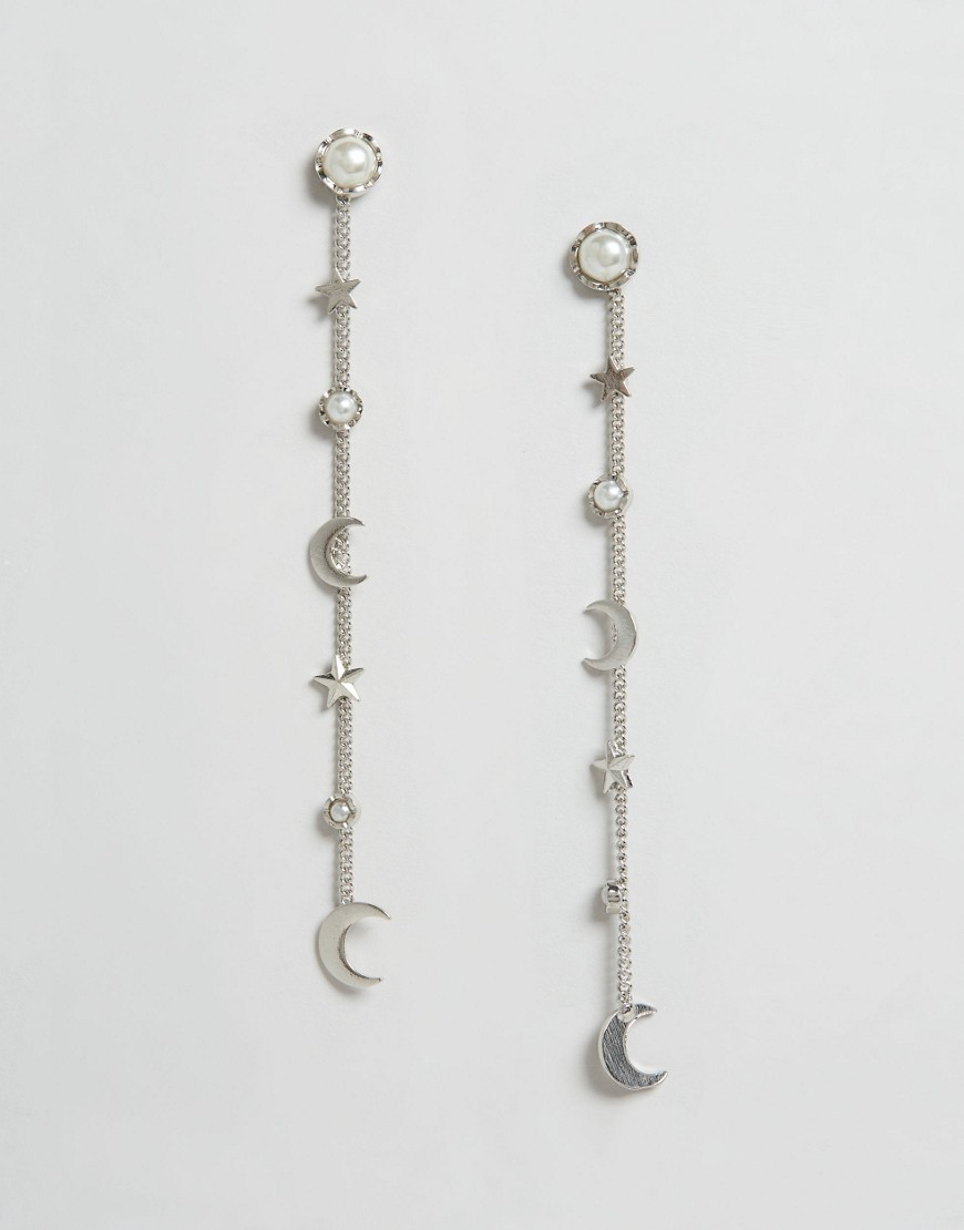 Moon And Star Strand Earrings Cream/ Silver - predominant colour: silver; occasions: evening, occasion; style: drop; length: long; size: large/oversized; material: chain/metal; fastening: pierced; finish: metallic; embellishment: pearls; season: s/s 2016