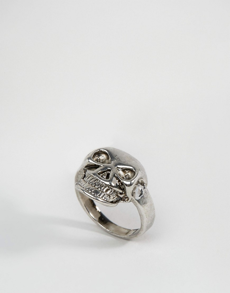 Limited Edition Skull Ring Rhodium - predominant colour: silver; occasions: casual, creative work; style: cocktail; size: standard; material: chain/metal; finish: metallic; season: s/s 2016