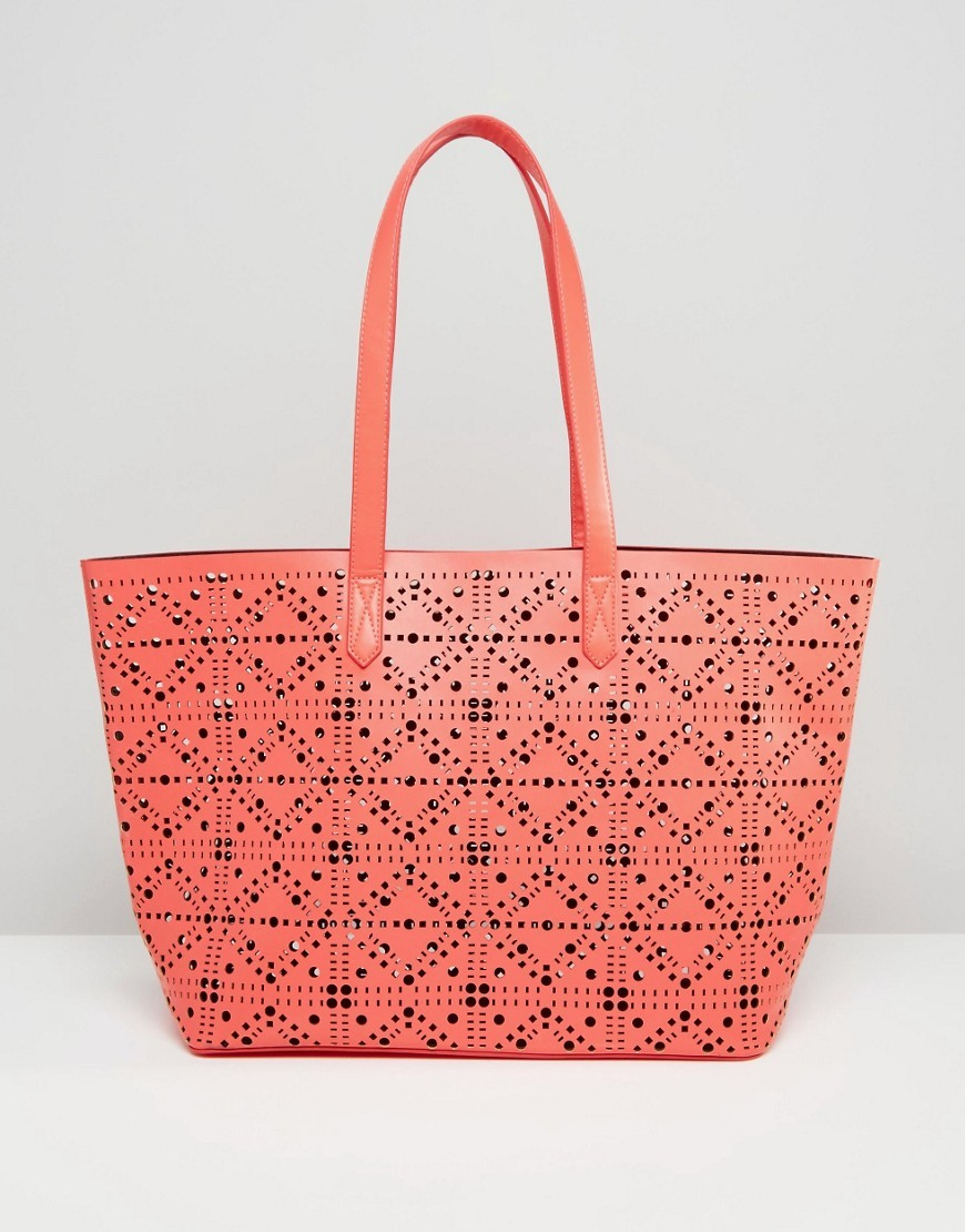 Cut Out Shopper Bag Coral - predominant colour: coral; occasions: casual, creative work; type of pattern: standard; style: tote; length: shoulder (tucks under arm); size: oversized; material: faux leather; pattern: plain; finish: plain; season: s/s 2016