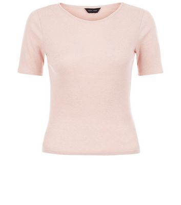 Mid Pink Ribbed T Shirt - pattern: plain; style: t-shirt; predominant colour: blush; occasions: casual; length: standard; fibres: polyester/polyamide - mix; fit: body skimming; neckline: crew; sleeve length: short sleeve; sleeve style: standard; pattern type: fabric; texture group: jersey - stretchy/drapey; season: s/s 2016; wardrobe: basic