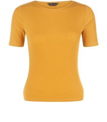 Mustard Ribbed T Shirt - pattern: plain; style: t-shirt; predominant colour: mustard; occasions: casual; length: standard; fibres: polyester/polyamide - mix; fit: body skimming; neckline: crew; sleeve length: short sleeve; sleeve style: standard; pattern type: fabric; texture group: jersey - stretchy/drapey; season: s/s 2016; wardrobe: highlight