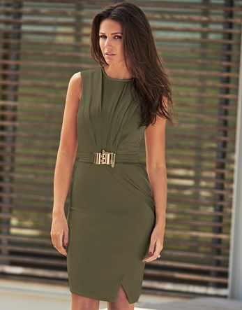 Love Michelle Keegan Chain Trim Wrap Dress - fit: tight; pattern: plain; sleeve style: sleeveless; style: bodycon; waist detail: belted waist/tie at waist/drawstring; predominant colour: khaki; occasions: evening; length: just above the knee; fibres: polyester/polyamide - stretch; neckline: crew; sleeve length: sleeveless; texture group: jersey - clingy; pattern type: fabric; season: s/s 2016; wardrobe: event