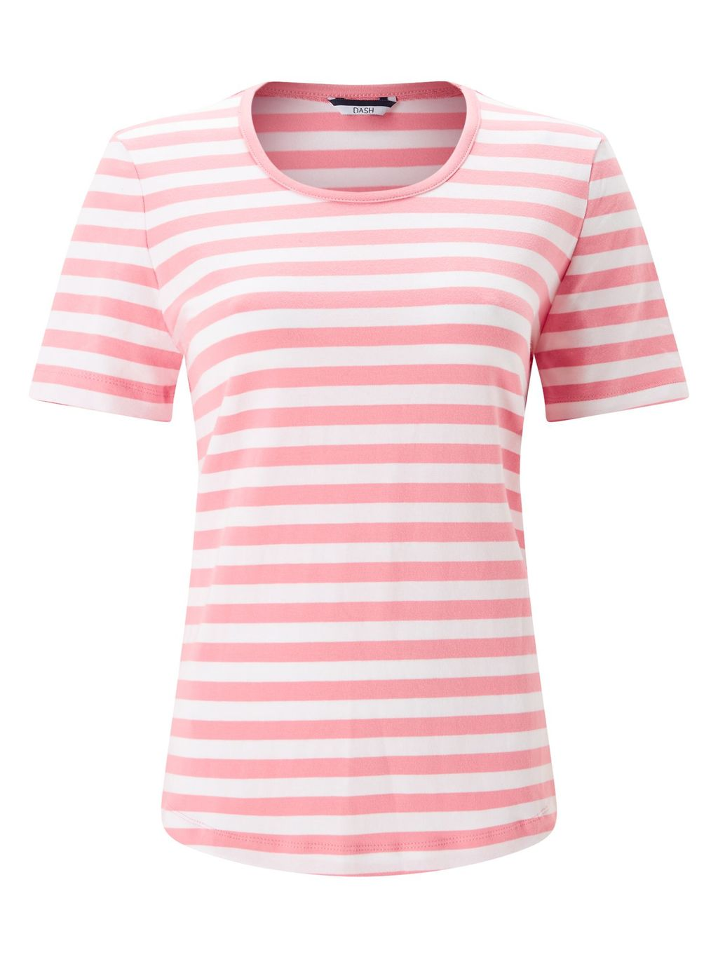 Pink Stripe Scoop T Shirt, Navy - pattern: horizontal stripes; style: t-shirt; secondary colour: white; predominant colour: pink; occasions: casual; length: standard; fibres: cotton - stretch; fit: body skimming; neckline: crew; sleeve length: short sleeve; sleeve style: standard; texture group: jersey - clingy; pattern type: fabric; pattern size: standard; season: s/s 2016; wardrobe: highlight