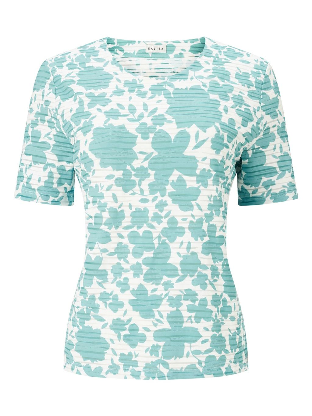 Mixed Texture Floral Top, Multi Coloured - style: t-shirt; hip detail: fitted at hip; predominant colour: white; secondary colour: turquoise; occasions: casual; length: standard; fibres: cotton - stretch; fit: body skimming; neckline: crew; sleeve length: short sleeve; sleeve style: standard; texture group: jersey - clingy; pattern type: fabric; pattern size: standard; pattern: florals; season: s/s 2016